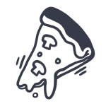 Simple, drawn icon of a pizza piece