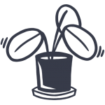 Simple, drawn icon of a plant