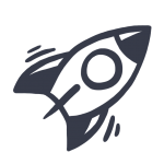 Simple, drawn icon of a rocket ship