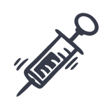 Simple, drawn icon of a needle