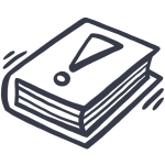 Simple, drawn icon of a book with information