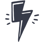 Simple, drawn icon of lightening