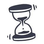 Simple, drawn icon of an hour glass