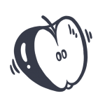 Simple, drawn icon of an apple