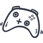 Simple, drawn icon of a controller