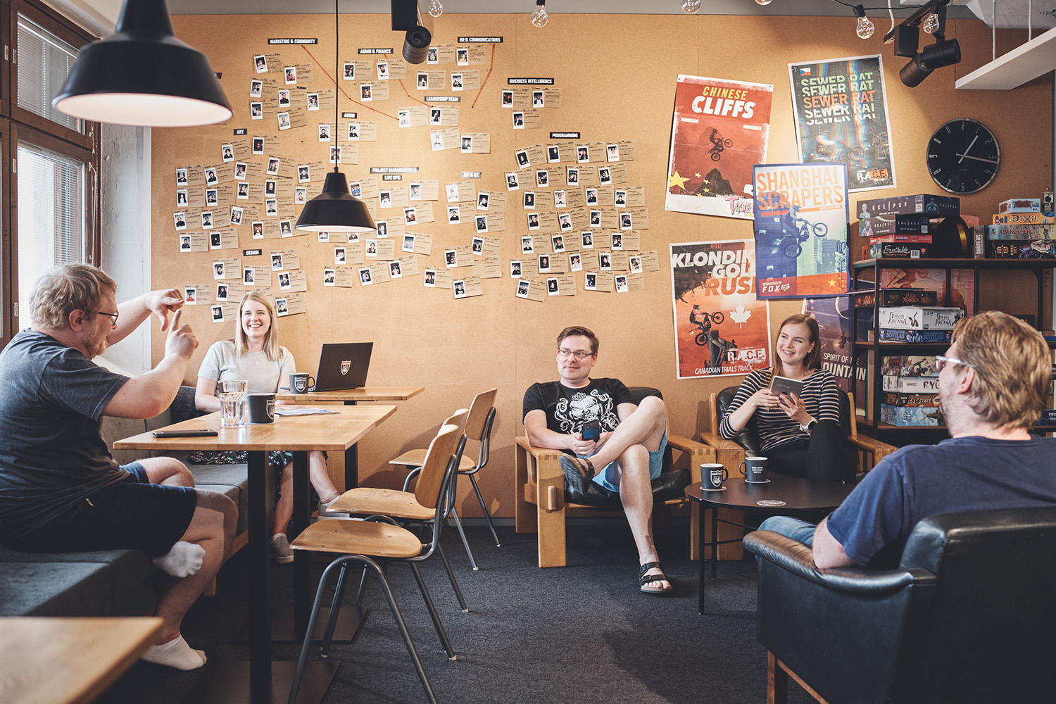 Team members talking at the open area in RedLynx game development studio in Helsinki, FInland