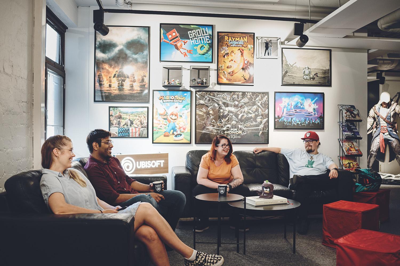 RedLynx colleagues having a break in Ubisoft corner