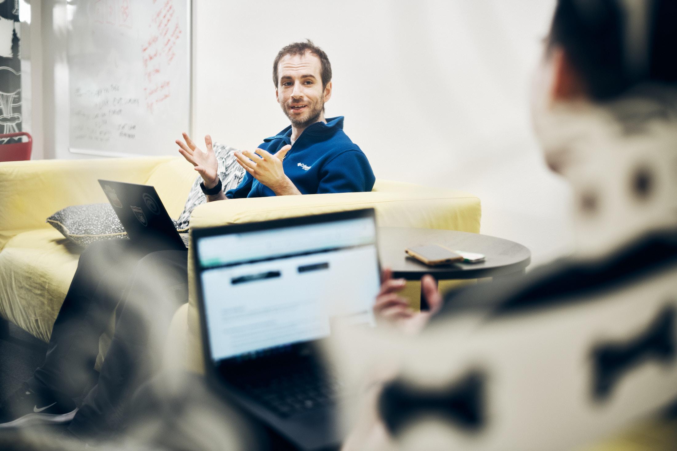 Producer Hami Arabestani having a meeting